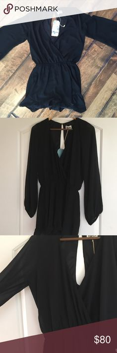 Show me your mumu black romper Black romper with frill trim. New with tags Show Me Your MuMu Other