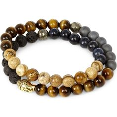 NIALAYA 18ct gold-plated sterling silver, hematite, lava stone, jasper... ($350) ❤ liked on Polyvore featuring men's fashion, men's jewelry, men's bracelets and multi