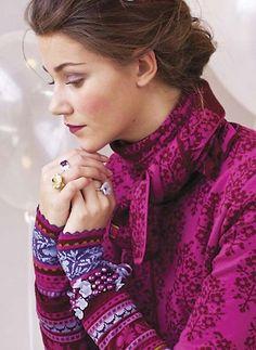 Oleana jacket, shawl and wristlets.  75%wool, 25% silk  #kompaniet #Oleana