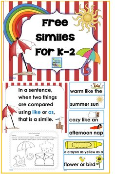 free printable K-2 Similes, 20 pages, may be used with any children story which incorporates similes, I used MY YELLOW UMBRELLA by Chris Robertson http://www.wiseowlfactory.com/BookaDay/archives/10878