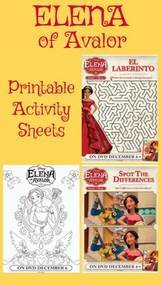 These free Elena of Avalor Printable Activity Sheets include two coloring pages, a maze and a spot the differences game.