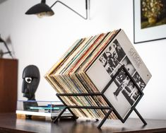 LP storage // Records stand // Display for vinyls // Listen now stack // LP Album stand Black editio Vinyl Record Display, Vinyl Record Storage, Lp Storage, Vinyl Record Holder, Vinyl Records Decor, Record Decor, Record Crate, Vinyl Shelf, Record Shelf