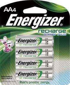 Energizer - NH Rechargeable AA Batteries (4-Pack) - Silver, NH15BP-4