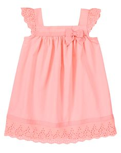 Spring sweetie! Our eyelet dress is a soft and comfy delight in roomy cotton with pretty eyelet trim. Grosgrain ribbon details at neckline and hem add girly style to this breezy favorite.