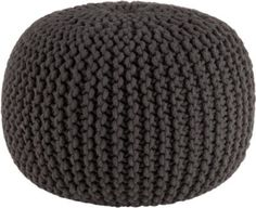 knitted graphite pouf - great for ottoman or seating.