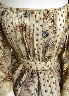 Detail of gorgeous 1850 French cotton dress, Metropolitan Museum...would like to see this fabric in modern summer dress.
