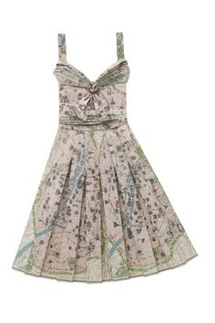 """PAPER DRESSES & HANDBAGS  -Artist: Unknown.  """"Travel Wardrobe"""" Dresses & Handbags made from vintage printed maps. Each piece is handmade and unique. Dresses are Approx 90cm long and 60 cm wide."""