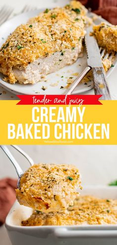Creamy Baked Chicken is a simple chicken recipe with cream cheese, mayo and Parmesan to keep it moist, and a crispy breadcrumb finish. Chicken Recipes With Cream Cheese, Baked Chicken Recipes, Ham Dishes, Food Dishes, Supper Recipes, Quick Dinner Recipes, Slow Cooker Recipes, Beef Recipes, Turkey Recipes
