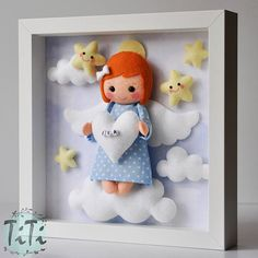 Items similar to Baby Decorative Frame, Child Frame Decoration with Guardian Angel, Personalised Felt box Frame, Personalized Nursery Decor,felt Angel clouds on Etsy Baby Room Decor, Nursery Decor, Felt Crafts Patterns, Felt Angel, Baby Frame, Diy Baby Gifts, Felt Baby, Handmade Felt, Frame Decoration