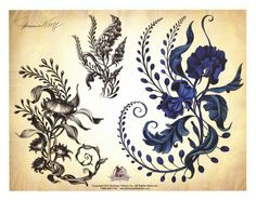 Floral tattoo sketches, www.BulleseyeTattoos.com