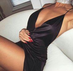 Black Silk high side split dress