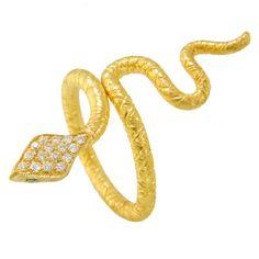 Lika Behar Diamond Emerald Snake Ring