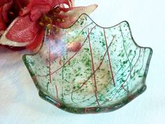 Holiday Fused Glass Tea Light Candle Holder or Ring Dish in Green and Red