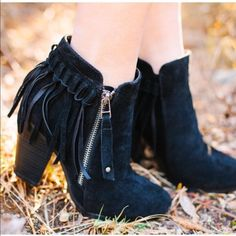 """LAST PAIR! Fall Fringe bootie DO NOT buy this listing, comment below to make sure I have your size available and I will make you a personal listing  only have two pair left. One size 5.5 Best seller faux suede fringe bootie. Color: black suede-like outside with fringe heel. Functional outer zipper. Approximately 3.25"""" stacked heel.  True to size!! ❌PRICE FIRM ❌ 2 a T Boutique  Shoes Ankle Boots & Booties"""