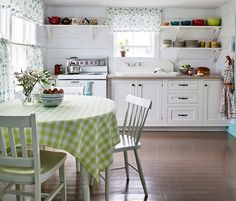 Attractive White Kitchen With Open Shelves And Farmhouse Style ...