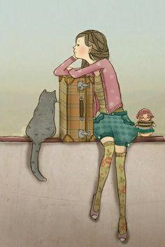 ragazza con valigia e gatto