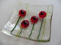 Poppy fused glass mini dish.