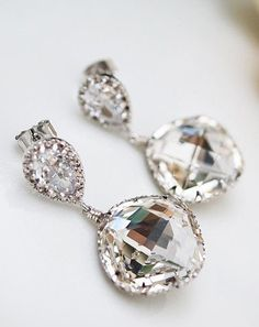 Earrings Cubic Zirconia Ear Posts with Clear White Swarovski Crystal