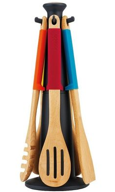Joseph Joseph 6-Piece Multi-Bright Kitchen Utensil Set with Storage Carousel and Elevate, Multicolored