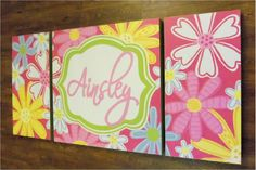 large modern nursery painting - pottery barn kids garden party-  initials- M2M decor- pink yellow flowers
