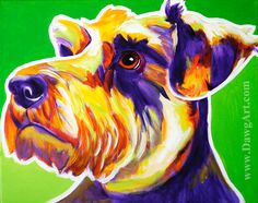 Colorful Pet Portrait Miniature Schnauzer Dog Art by dawgpainter, $14.00