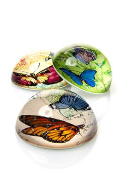 TWO'S COMPANY Set of 3 Butterfly Paperweights
