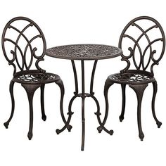 Universal Lighting and Decor Ashleigh 3-Piece Cast Iron Bistro Set ($200) ❤ liked on Polyvore featuring brown and tables