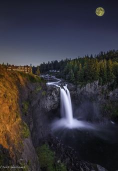Blue Moon Rise over Snoqualmie Falls, Washington State - A short drive east of Seattle, this massive falls has a lodge and restaurant (Seen at top of cliffs on left) that offers one of the best brunches around!