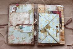 Love the staining Bullet Journal Notebook, Book Journal, Journal Cards, Handmade Journals, Handmade Books, Travel Scrapbook, Scrapbook Albums, Shabby Chic Journal, Altered Books Pages