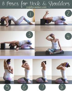 Pin it! 8 Yoga poses for neck and shoulders.  Wearing: Teeki northern lights pants, old tank (similar), Lululemon headband (similar). Using: Wellicious divine mat, yoga blocks.