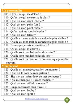 200 questions pour votre couple - Find Your Self Couple Questions, This Or That Questions, List Of Emotions, Vie Motivation, Stress, Miracle Morning, French Lessons, Interview Questions, Learn French
