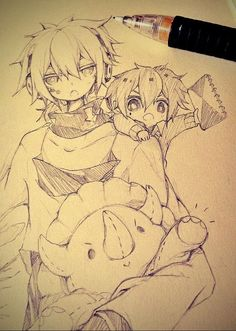 ✮ ANIME ART ✮ anime boys. . .chibi. . .child. .. plush toy. . .sketchbook. . .graphite. . .pencil. . .sketch. . .cute. . .kawaii