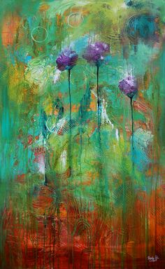 3 Purple Poppies, Original Acrylic Painting, Abstract Painting, Purple, Green, Teal, Orange, Large, Impressionistic