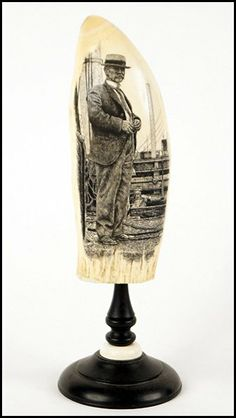 Scrimshaw Whale Tooth on Wood and Ivory Stand : Lot 132-8006 #scrimshaw #whaletooth #ivory
