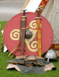 Viking Weapons sheild, swords, helmet, leather and a tent for love making and prayer magic