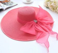 Wide Brim Floppy Beach Hat w/Sexy Bow 7 Colors To Choose From