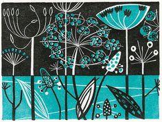 Clifftop - wood engraving print by Angie Lewin - printmaker
