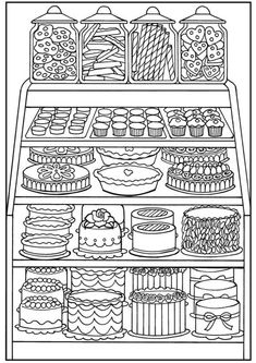Dover Publications/ coloring pages for adults Food Coloring Pages, Coloring Pages For Grown Ups, Printable Coloring Pages, Free Coloring, Adult Coloring Pages, Coloring Sheets, Coloring Books, Kids Colouring, Clipart