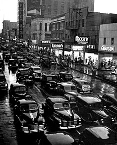 """onlyoldphotography: """" Dmitri Kessel: A view of Houston's traffic congestion. Houston, Texas, 1946 """""""