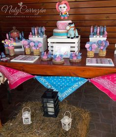 Western dessert table at a Sheriff Callie birthday party! See more party ideas at CatchMyParty.com!