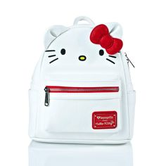 Loungefly X Hello Kitty Mini Backpack (£50) ❤ liked on Polyvore featuring bags, backpacks, vegan leather backpack, hello kitty backpack, mini bag, vegan bags and bow backpack