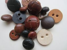 Vintage Buttons  Lot of 18 assorted Leather by pillowtalkswf, $9.95
