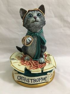 Jonathan Goode Catastrophe Figurine Danbury Mint Cat Spaghetti Bowl   | eBay