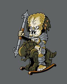 GET TO DA ROCKER!, predator, alien, cute, chibi