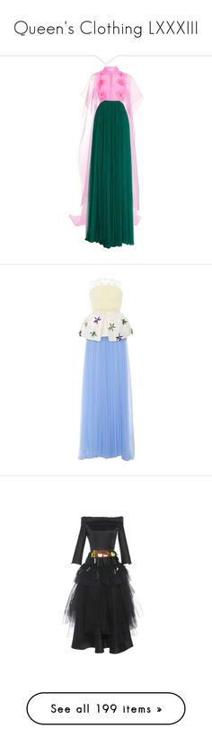 """""""Queen's Clothing LXXXIII"""" by ms-perry on Polyvore featuring dresses, gowns, delpozo, green, blue evening gown, long sleeve dress, short sleeve dress, silk gown, green evening gown и white"""