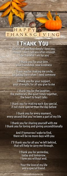 25 Thanksgiving Love Poems to Wish Her / Him - Thankful Poems