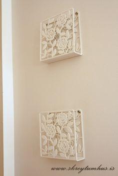 Ikea lacy napkin holders turned into shelves