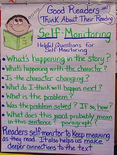 """""""Good Readers Think About Their Reading"""" (anchor chart)"""