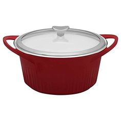 CorningWare Cast Aluminum Dutch Oven with Dual Handles and Glass Cover, 5 1/2-Quart, Red