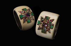 Maltese cross cuffs by Fulco di Verdura for Chanel #ChanelJoaillerie Visit espritdegabrielle.com | L'héritage de Coco Chanel #espritdegabrielle